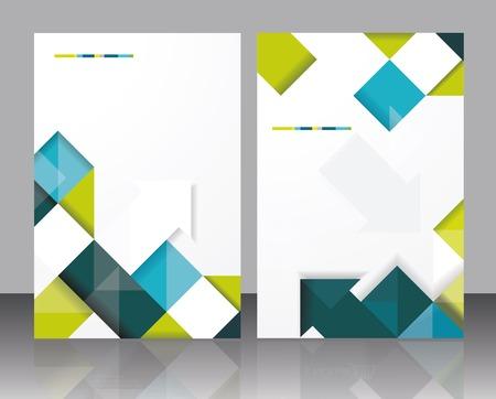 Vector brochure template design met blokjes en pijlen elementen. Stock Illustratie