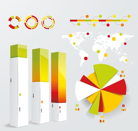 モダンなインフォ グラフィックのセットです。世界地図および情報グラフィック。ベクトル