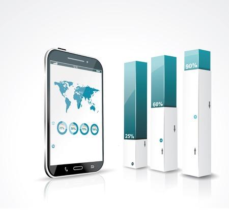 Moderne Design-Box Minimal Art Infografik Vorlage mit einem Touchscreen-Smartphone.