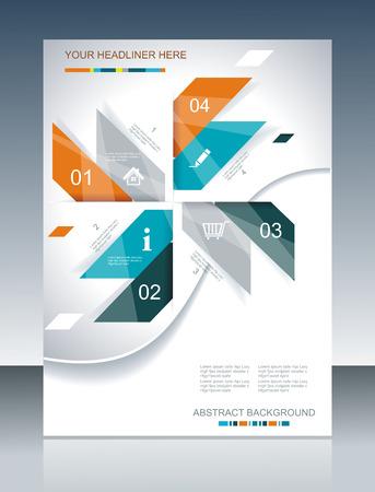 抽象型の要素を持つベクター パンフレット テンプレート デザイン。  イラスト・ベクター素材
