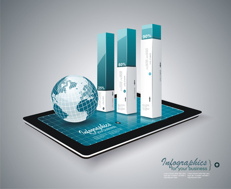 Moderne Infografik auf Tablet PC Standard-Bild - 22850811