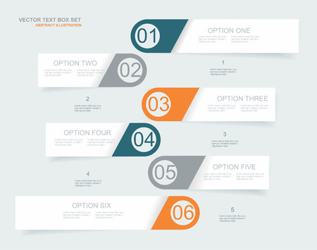 three orange: Vector  steps lines, progress banners with colorful tags.
