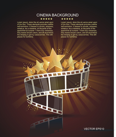 movie poster: Film strip roll with gold stars. Vector cinema background.