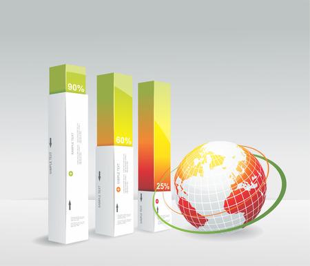 tourist information: Travel Infographic set with globe. Vector illustration.