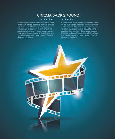 Film strip roll with gold star. Vector cinema background. Çizim