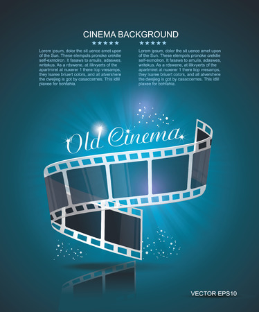 Old Cinema banner with stripe roll. Vector cinema background. Vector