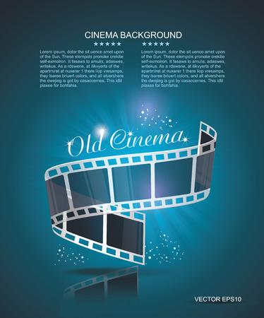 Oude Cinema banner met streep roll. Vector cinema achtergrond. Stock Illustratie