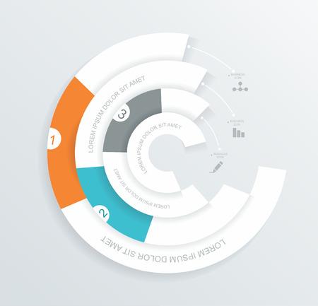 ワークフローのレイアウト、オプションまたはステップのバナー、ダイアグラム、行番号、web デザインのインフォ グラフィック サークル折り紙ス  イラスト・ベクター素材