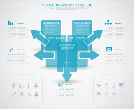 Minimal infographic template. Business management, strategy and web resources. Vector
