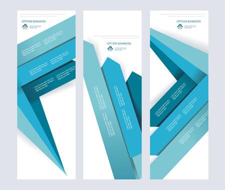 advertiser: Set di carta vettore astratto banner con le frecce blu