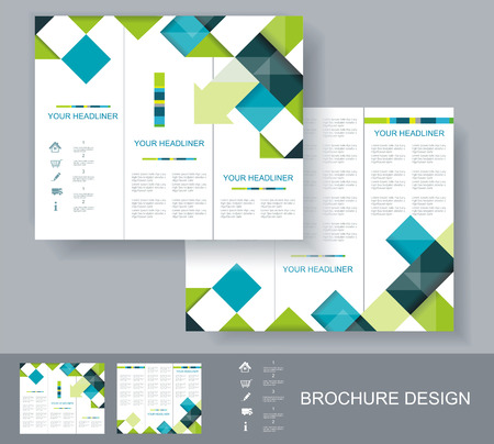 Vector brochure template design with blue, green and grey elements. EPS 10  Vector