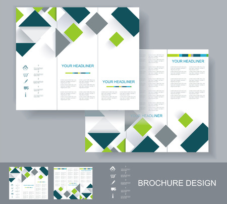 Vector brochure template design with green and grey elements. EPS 10  Vector