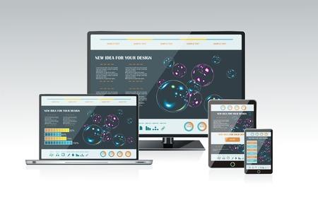 Computer monitor, laptop en tablet pc met een blauwe achtergrond en kleurrijke apps op een scherm. Stock Illustratie