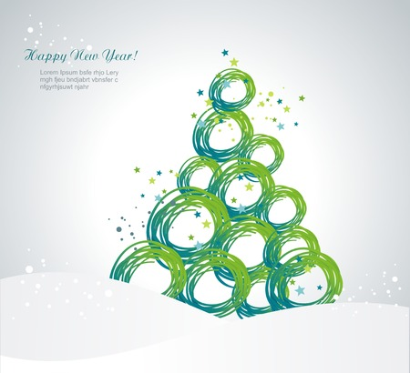 stylized Christmas tree from ribbons circles Vector