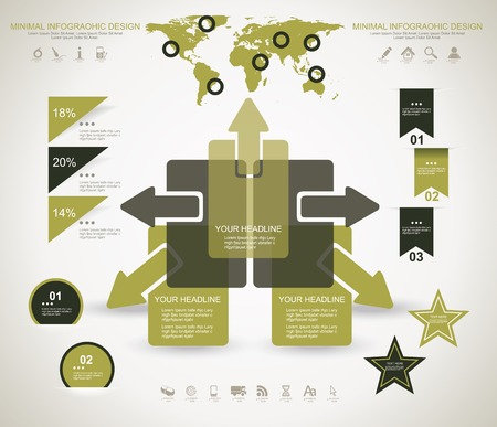 employment issues: Minimal infographic template. Business management, strategy and web resources. Illustration