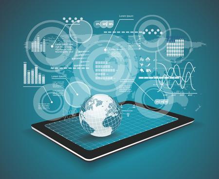 패드 개인용 컴퓨터 기술 사업 개념을 터치합니다. 창조적 인 네트워크 정보 처리도.