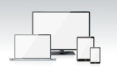 현실적인 벡터 노트북, 태블릿 컴퓨터, 모니터, 휴대 전화 일러스트