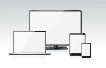 Realistic vector laptop, tablet computer, monitor and mobile phone