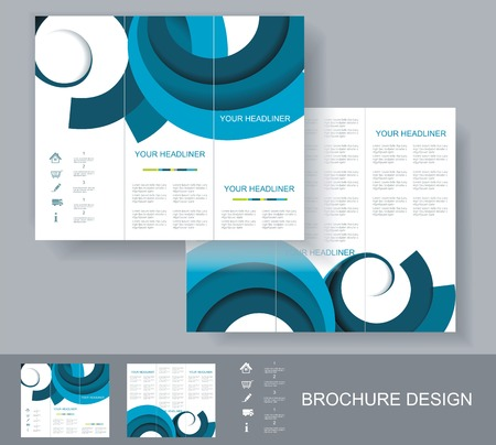 Vector brochure template design with blue elements. Vector