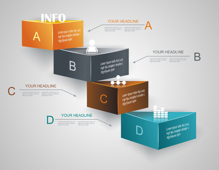 モダンアート: ステップ ステップ インフォ グラフィック イラスト。データのレベル  イラスト・ベクター素材