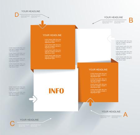 Modern Design template. Kan gebruikt worden voor infographics, genummerd banners, infopanelen, stap lijnen. Stock Illustratie