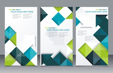 publications: Vector brochure template design with cubes and arrows elements.