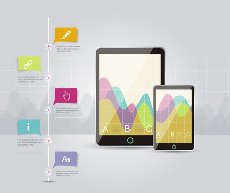 Digital Tablets Infographic Elements, IT Industry Design. Vector