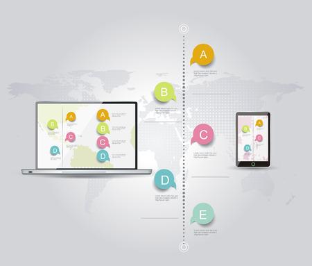 Modèle de conception infographique avec un ordinateur portable et téléphone intelligent