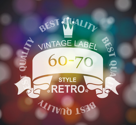 Vector  retro label with  ribbon and crown.  Vector