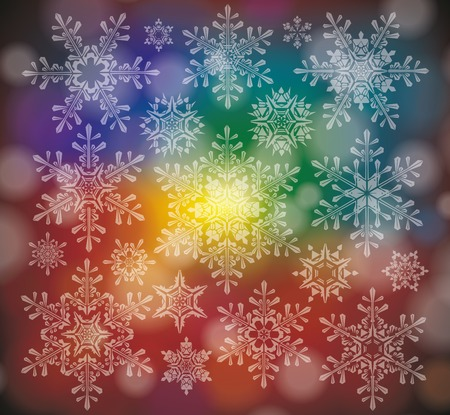 Vector Illustration of a Winter Background with Snowflakes  Vector