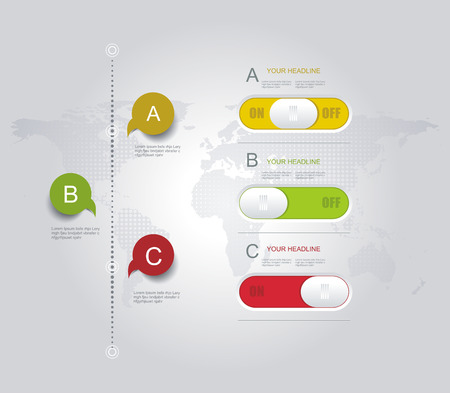 Infographic design template with world map, web buttons and paper tags. Vector