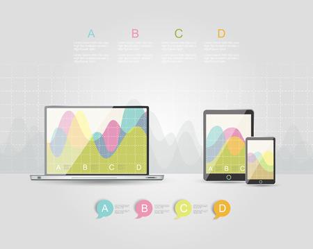 Digital Tablets Infographic Elements, IT Industry Design. Illustration