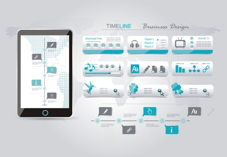 global positioning system: Web buttons set blue design, time line infographic on screen of smartphone.