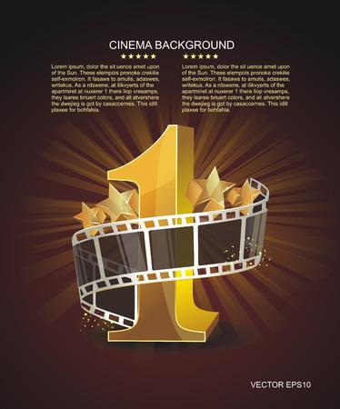 Gouden nummer 1 met gedraaide filmstrip en glas sterren tegen een donkere achtergrond