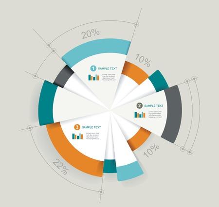 Zakelijk cirkeldiagram voor documenten en rapporten voor documenten, rapporten, grafiek, infographic, business plan, het onderwijs