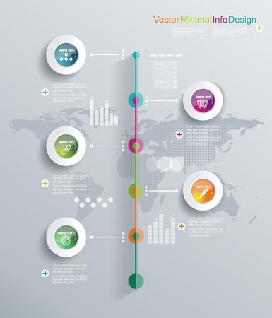 ワークフローのレイアウト、図、web デザインのために使用できる最小限のインフォ グラフィック デザイン