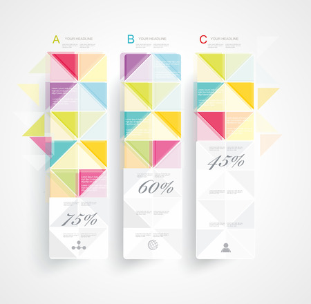 Abstract Minimal Ifographic Design on rhombus style   Can be used for infographics, numbered banners, cutout lines, website layout   Vector