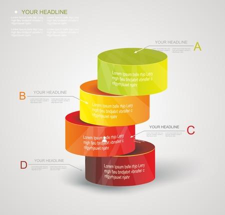 Abstrakt Minimal Ifographic Design on Zylinder Stil Kann für Infografiken, nummeriert Optionen, Schritte zum Erfolg, Website-Layout verwendet werden Standard-Bild - 25035074