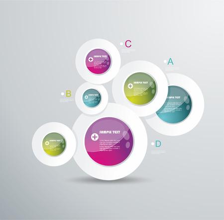現代円のベクトルの背景。インフォ グラフィック、ワークフロー レイアウト、図、番号のオプション、web デザイン、ビジネスをカバーに使用でき