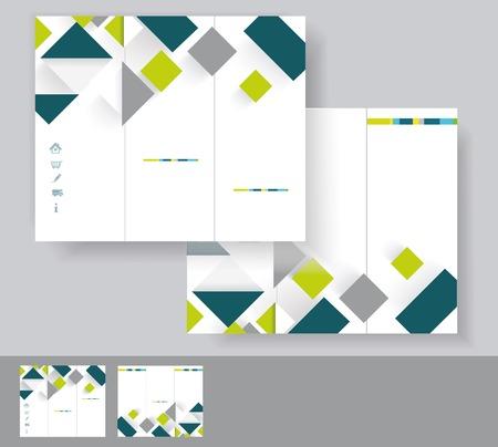 EPS 10 緑と灰色の要素を持つベクトル パンフレットのテンプレート デザイン