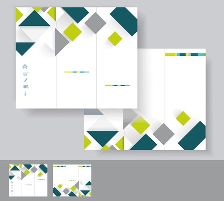Vector brochure template design with green and grey elements  EPS 10