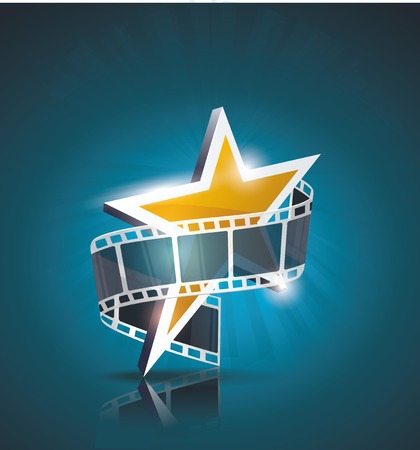 film star: Film strip roll with gold star  Vector cinema background