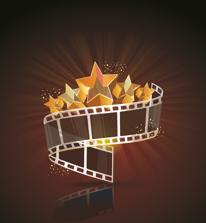 video production: Film strip roll with gold stars. Vector cinema background.