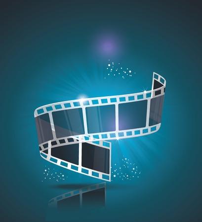 rollo fotogr�fico: Old banner Cine con el rodillo de la raya. Vector cine de fondo.