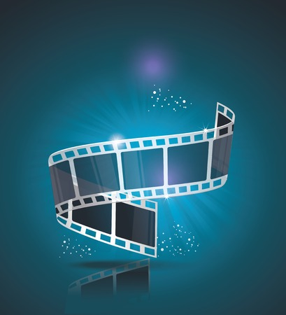 movie poster: Old Cinema banner with stripe roll. Vector cinema background.