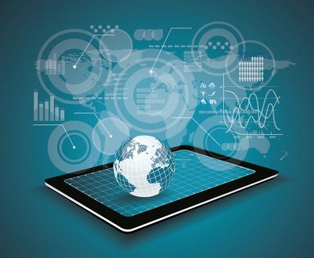Touchpad Personal Computer technologie business concept. Creatief netwerk informatie processchema. Stock Illustratie