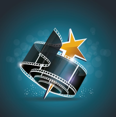 video production: Film strip roll with gold star. Vector cinema background. Illustration