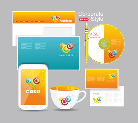 Corporate identity kit for your business includes Business Card, Envelope and Folder for documents, Pen, CD, Cup  Vector
