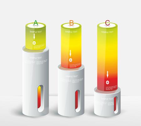 Modern doos Ontwerp Minimale stijl infographic sjabloon kan worden gebruikt voor het diagram, genummerd banners, procent kolommen, niveau-indicator op wit, energieconcept Stock Illustratie