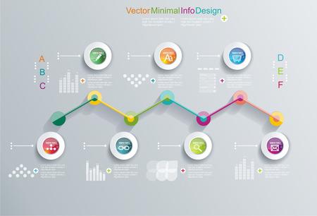 Time-Line-Design-Vorlage mit Diagramm-Satz Idee, um Informationen anzuzeigen, Schritte zur industriellen Fabrik, die Platzierung und Statistiken